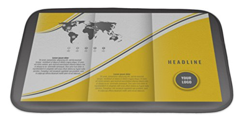 Gear New Bath Rug Mat No Slip Microfiber Memory Foam, Yellow Business Trifold Brochure Template Design Wavy Lines And World Map Infographic, 34x21 (Tri Fold Brochure Template)