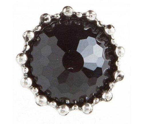 Rain Collections Black Circle Gem Post Earrings (E661BK)