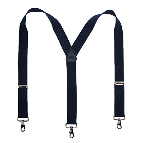 CTM Men's Elastic Solid Color Suspender with Metal Swivel Hook Clip End