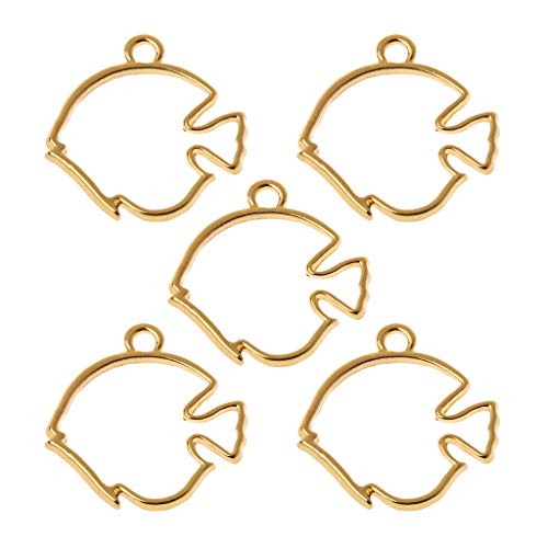 Misright 5Pcs Tropical Fish Open Back Bezel Pendant, Open Back for Resin,Open Back Frame for UV Resin Crafts Jewelry Making