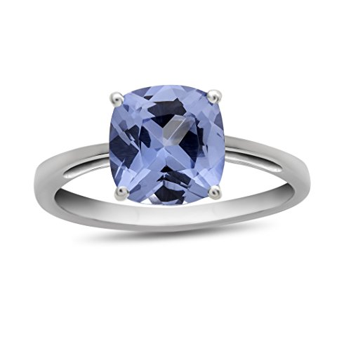 Finejewelers 10k White Gold 7mm Solitaire Cushion Simulated Aquamarine Ring Size 5