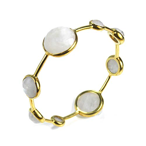 - AeraVida Faceted Bubble Simulated Moonstone Gold Plated Solid Brass Bangle Bracelet