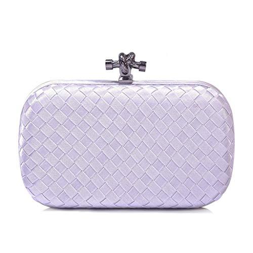 Bags Clutch Wedding Party Evening Hergon Silver Weave Plaid Handbags Bag Shoulder Purse Women wfqAR