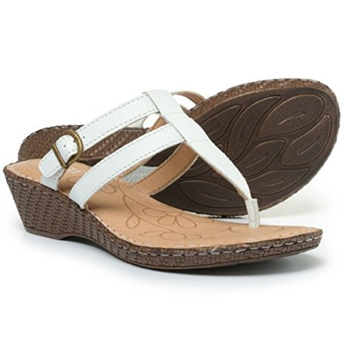 Born Women's Iris Leather Thong Wedge Sandal, White (Size: 8)