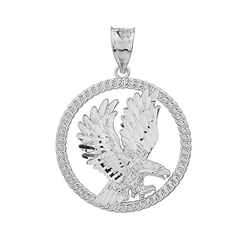 Silver Eagle Sterling Solid Charm (925 Sterling Silver American Eagle Round Rope Design Frame Pendant)