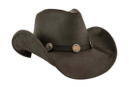 Lucky Trails Men's Buffalo Shapeable Leather Western Cowboy (Genuine Leather Cowboy Hat)