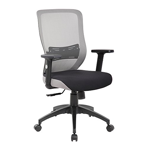 United Office Chair 8196Gr High-Back Mesh Office Desk Adjustable Height and Soft Touch Padded Arms-Multifunction Ergonomic Swivel Computer Chair, Grey