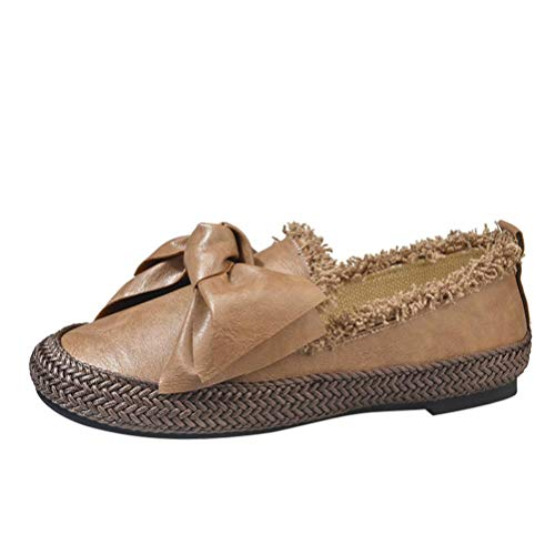 Flats Butterfly Round Khaki Shoes Comfortable Slip Women Toe Fashion Casual on Retro Knot FALAIDUO 1wtYxSXqO