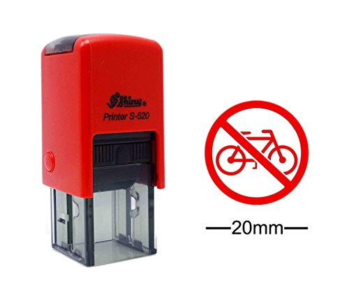 No Cycling Sign Icon Round Rubber Stamp Self Inking SHINY Mini Stamper 20 mm- Red Ink
