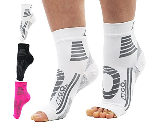Plantar Fasciitis Socks by AZGO, Medical Compression Sleeve for Men and Women |Ankle & Arch Support, Heel Pain Relief Treatment, Day & Night Use |Ideal for Runners, Nurses or During Pregn (L/XL,White) by AZGO