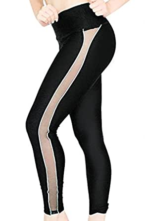 Fish net Mesh Side Active Wear Leggings (XX-Small, Hydro Mesh Trail)