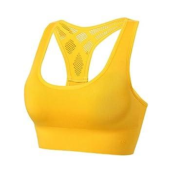 Wuyulunbi@@ La Belleza Pura Yoga Sujetador Deportivo Sujetador Bra,Amarillo,M: Amazon.es: Deportes y aire libre