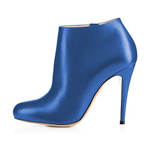 Fsj Damesmode Amandel Teen Stiletto Hakken Enkellaarsjes Comfortabele Schoenen Met Zijrits Maat 4-15 Us Deep Sky Blue