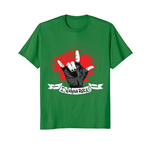 Mens I Wanna Rock - Rock n Roll T Shirts - Hand Horns for woman. 3XL Kelly Green from Music times 2017.