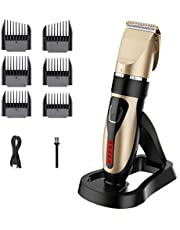 Cordless Hair Clippers, USB Rechargeable Hair Trimmer, IPX7 Waterproof Hair Cutting Kit with Battery Life Indicator LED Display & Charging Dock