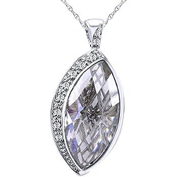 Wishrocks Marquise Cut White Cubic Zirconia Leaf Circle Pendant Necklace
