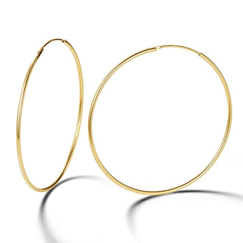 Carleen 14K Yellow Gold Plated 925 Sterling Silver Dainty Endless Hoop Earrings for Women Girls ()