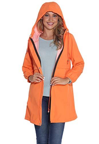 GUANYY Rain Jacket Women Waterproof Hooded Raincoat Active Outdoor Windbreaker Trench Coat (Orange, Large)