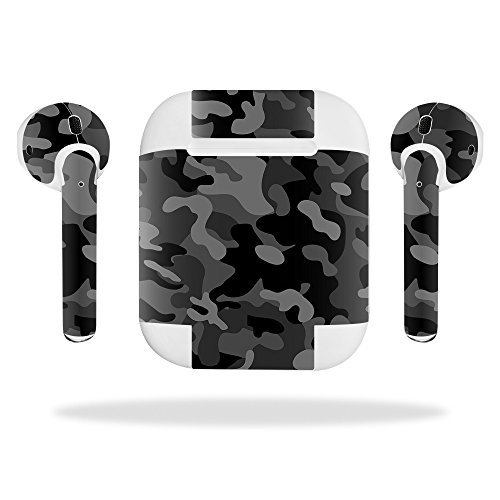 MightySkins Skin Compatible with Apple Airpods - Black Camo | Protective, Durable, and Unique Vinyl Decal Wrap Cover | Easy to Apply, Remove, and Change Styles | Made in The USA