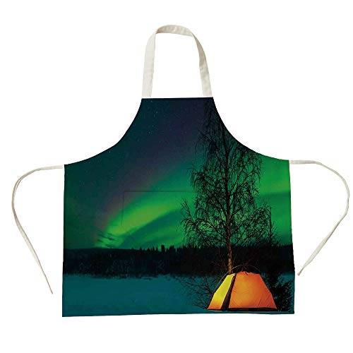 - 3D Printed Cotton Linen Big Pocket Apron,Northern Lights,Camping Tent Under Magnetic Field Nature Picture,Lime Green Dark Blue Earth Yellow,for Cooking Baking Gardening