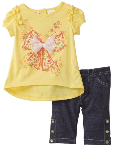 Young Hearts Baby Girls' Bow Knit Top With Capri Pant Set