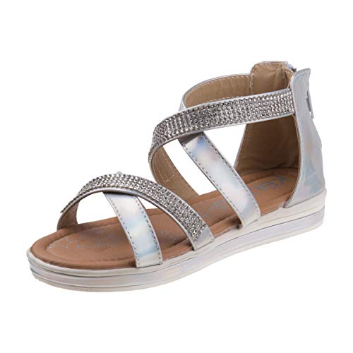 Kensie Girl Girls Metallic Rhinestone Double Strap Closed Heel Sandal, Silver, Size 12 M US Little Kid' ()