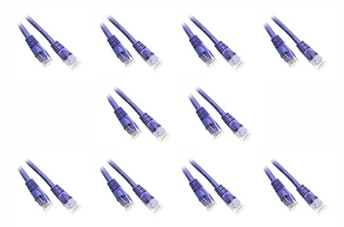 C&E 3-Feet Cat5e Snagless/Molded Boot Ethernet Patch Cable, 10-Pack - Purple - Ce Cat 3