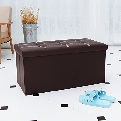 Storage BenchFoldable Storage Ottoman Faux Leather Stool for Livingroom Bedroom 29 7/ & Storage BenchFoldable Storage Ottoman Faux Leather Stool for ...