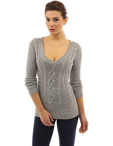 PattyBoutik Women's Deep V Neck Cable Knit Sweater - Tall Awkward ...