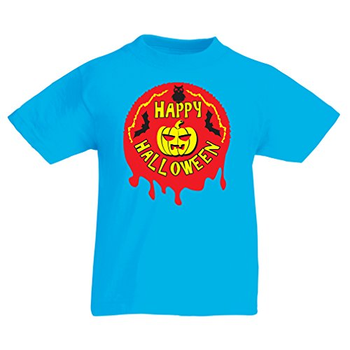 T Shirts for Kids Happy Halloween! - Party Clothes - Pumpkins, Owls, Bats (9-11 Years Light Blue Multi Color) -