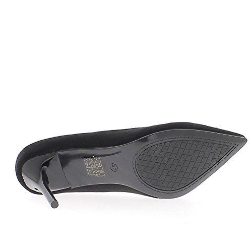 Materiale di scarpe donna tacco nero bi ago 9 cm