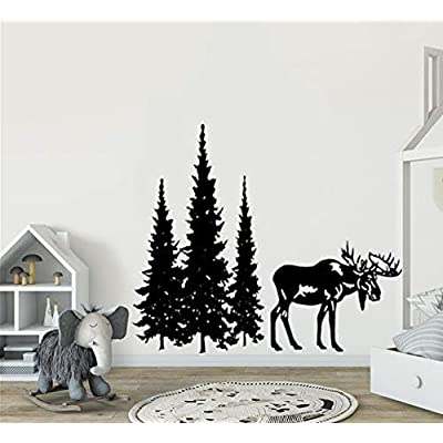 Pine Tree Wall Decal Stickers Pine Tree Decor Forest Decal with Moose Woodland Vinyl Wall Decal Woodland Nursery Decal Pine Forest Moose Decal Sticker: Baby