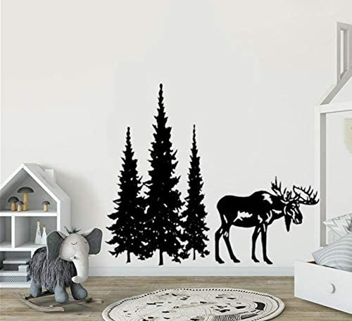 Amazon.com: YttBuy Pine Tree Wall Decal Stickers Pine Tree Decor Forest Decal with Moose Woodland Vinyl Wall Decal Woodland Nursery Decal Pine Forest Moose Decal Sticker: Home & Kitchen