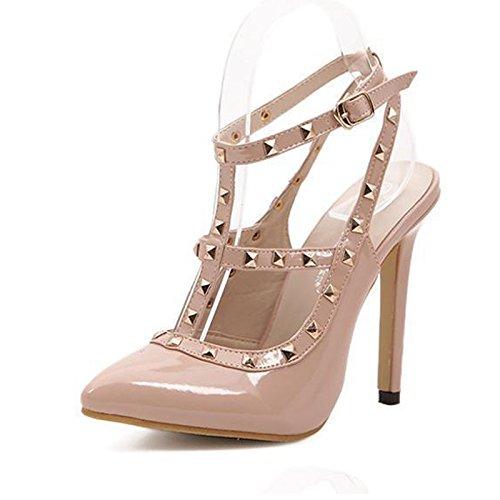YCMDM Donne Sandali Rivet a punta cava col tacco alto scarpe singolo 39 36 35 38 37 40 , apricot , 35