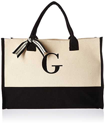 Mud Pie G-Initial Canvas Tote