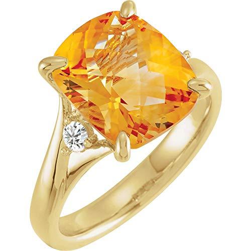 FB Jewels 14K Yellow Gold Citrine & 1/6 CTW Diamond Ring Size 7