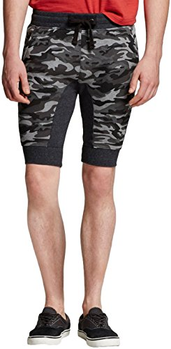 Modern Threads by Well Versed Men's Blocked Gusset Knit Jogger Shorts (Large, Woodland Camo) (Woodland Spandex Shorts)