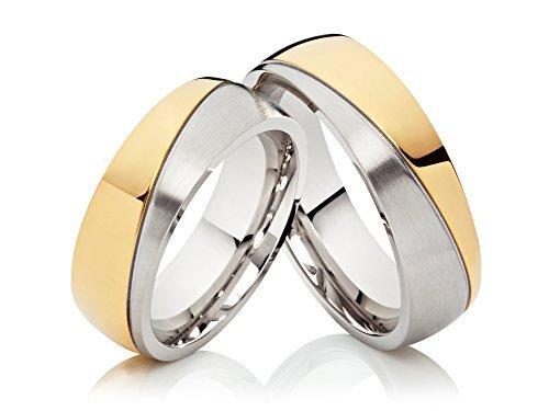 2 alianzas de boda anillos de compromiso anillos de acero inoxidable confies, Bicolor oro plateado