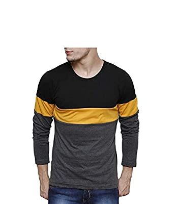9ec5aec262d9 Urbano Fashion Men's Black, Grey, Yellow Round Neck Full Sleeve T ...