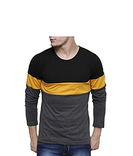 Urbano Fashion Men's Black, Grey, Yellow Round Neck Full Sleeve T-Shirt,Black,Small