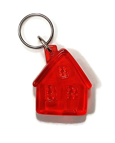 Bulk Buy: Lot of 20 Translucent Red Plastic House Keychains