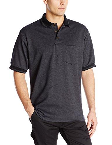 Red Kap Men's Performance Knit Twill Shirt, Black/Charcoal, Short Sleeve Large