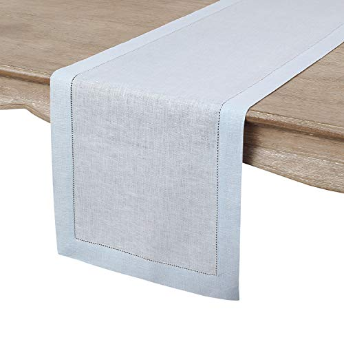 Solino Home Hemstitch Linen Table Runner - 14 x 36 Inch, Handcrafted from European Flax, Machine Washable Classic Hemstitch - Light Blue -