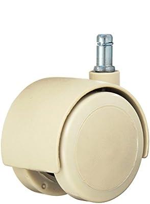 "Twin Wheel Caster Solutions TWHN-50U-G20-TN 2"" Diameter Urethane Wheel Hooded Non-Brake Caster, 7/16"" x 7/8"" Grip Ring Stem, 110 lb Capacity Range"