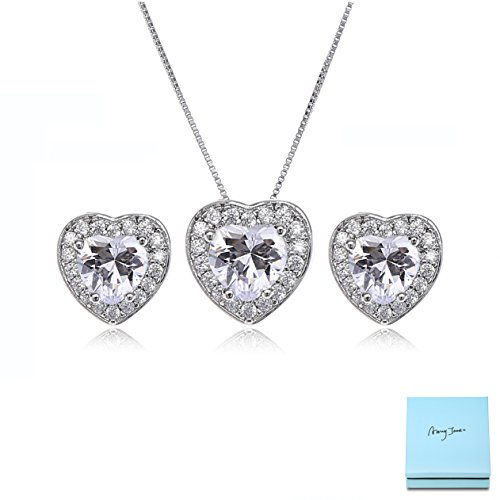AMYJANE Crystal Jewelry Set for Women - Sterling Silver Small Heart Shaped Cubic Zirconia Birthstone Elegant Bridal Pendant Dangle Earrings Set for Girls Valentine's Day Gift by by AMYJANE (Image #7)