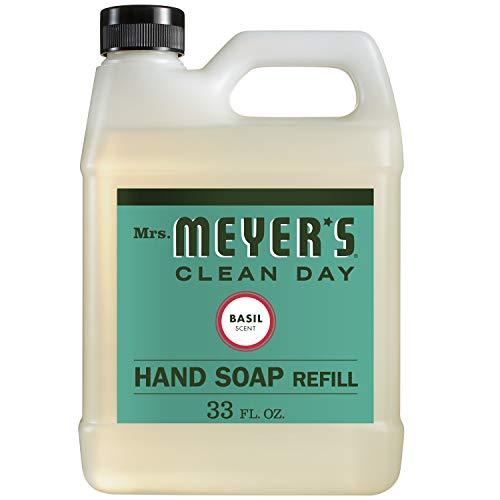Recambio de jabón líquido para manos de Mrs. Meyer, albahaca, 33 fl oz