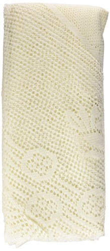 Ritz 100% Polyester Oversized Easy Care Linen Lace Tablecloth, Round, 70-Inch Diameter (178-cm), Ivory Floral