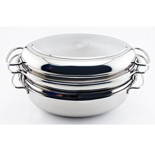 BergHOFF Eclipse 4-Piece Induction-Safe Oval Roaster Set, 30cm, Stainless Steel, Silver, 10 x 19 x 30 cm 2801536