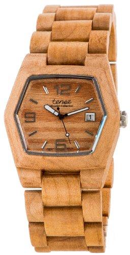 Tense Mens Maple Wood Date Window Hexagon Watch G8300M (Light Face)