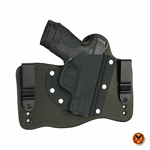 FoxX Holsters Smith & Wesson M&P Shield 9mm & 40 IWB Hybrid Holster Tuckable, Concealed Carry Gun Holster (Black Leather)